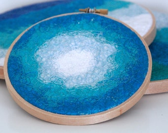 Fibre art wall hanging (Blue 01) – wallhanging, abstract, wall art, wall decor, fiber art, home decor, textile art, hoop art, small wall art