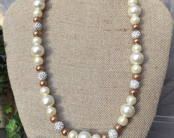 Cream/Brown Glass Pearl  Necklace and Earring Set with Rhinestone Beads