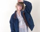 90's blue suede jacket, vintage navy colorful leather coat, 1990s ironic vtg tumblr soft grunge vaporwave, art hoe, urban outfitters