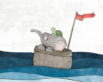Elephant Nursery Decor - Nautical Art Print, Elephant and Turtle, Whimsical Nursery Wall Art, Baby Room Drawing