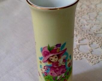 Vintage Lefton Bud Vase--Girl Holding Bunny.