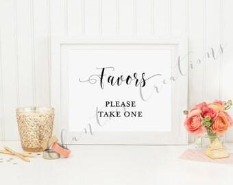 Wedding favor sign. Shower favors sign. Birthday party favor sign. Printable favor sign.