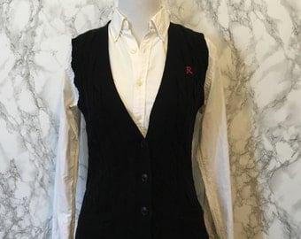 Ralph Lauren Cable Knit Cardigan Sweater Vest