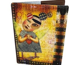 Leather passport cover - Passport holder - Genuine leather - Handmade passport cover - Original gift - Bright design - Love in USA - #075
