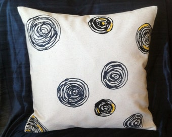 "SALE - Hand painted pillow cover black and charcoal circles w/yellow accents 16""x16"""