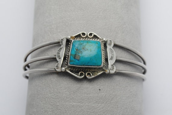 Vintage cuff with turquoise and sterling silver