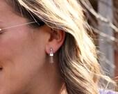 Crystal Quartz Earrings, Silver Ear Jacket, QUARTZ POINT, Ear Cuff, Crystal Ear Cuff, Earring, Crystal Point Earring, Bohemian Ear Cuff