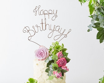 Happy Birthyay Cake Topper, Copper Cake Topper, Wire Cake Topper, Happy birthday cake topper, Golden Cake Topper, cake toppers