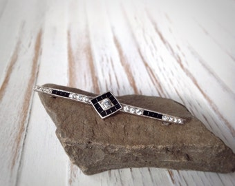 Art Deco Diamond Brooch // Black and white Antique Pin // Vintage Pin // 1920-1930