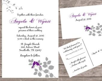 coral love bird invitations, custom wedding invitations, wedding invitations, wedding invites