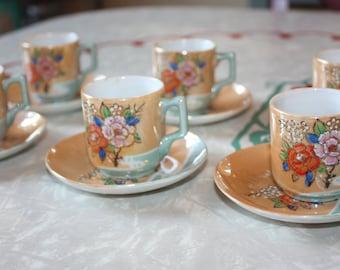Sweet Lusterware Tea Cup Set: 6 Tea Cups / 6 Saucers, 12-piece Set, Japan