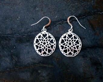 Sterling Silver Heart Cutout Earrings - #1