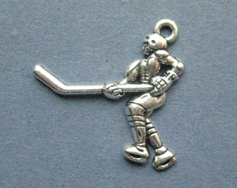 4 Hockey Player Charms - Hockey Player Pendants - Hockey Player - Hockey - Sports Charm - Antique Silver - 27mm x 27mm -- (No.91-12020)