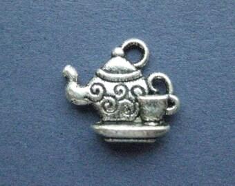 10 Teapot Charms - Teapot Pendants - Tea Time - Teapot - Tea - Tea Charm - Antique Silver - 14mm x 15mm -- (D2-11187)