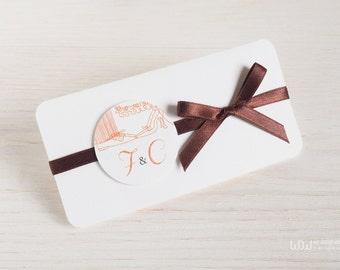 Modern Wedding Invitation_Custom Wedding Invitation_Orange wedding invitation_Personalized rustic invitation_Unique Hand made in Italy