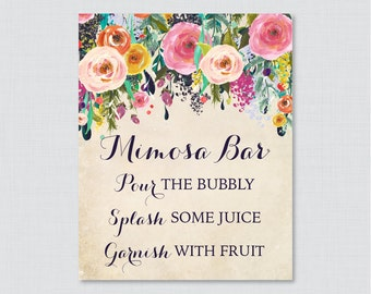 Mimosa Bar Sign with Colorful Flowers - Floral Bridal Shower Mimosa Bar Sign Printable - Shabby Chic Garden Bridal Shower Sign - 0002-A