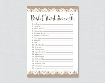 Burlap And Lace Bridal Shower Word Scramble