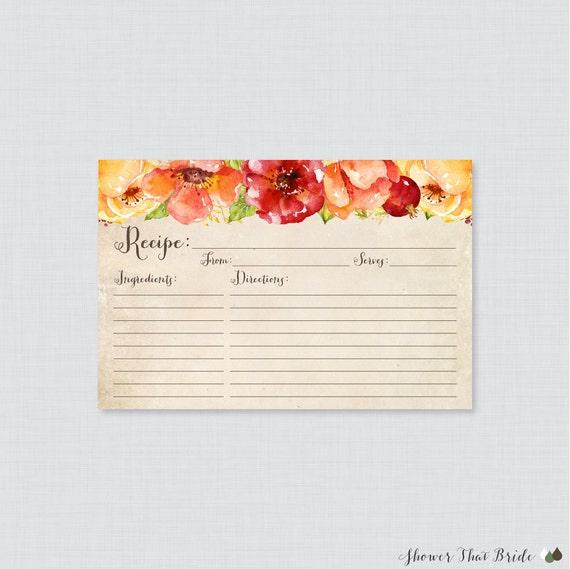 Fall Bridal Shower Recipe Cards