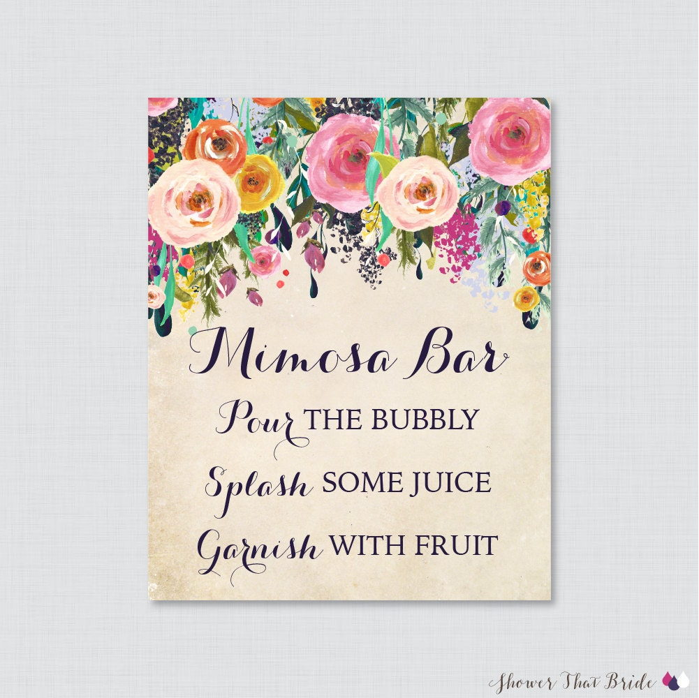 Mimosa Bar Sign With Colorful Flowers Floral Bridal Shower
