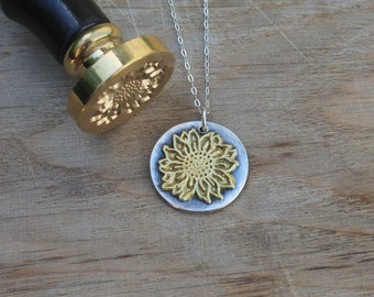 Sunflower wax seal fine silver pendant