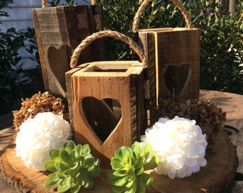 Heart Candle Lanterns set of 3,Wedding Centerpieces,Valentines day gift,Anniversary gift,wedding table decor,sister gift,mothers day gift