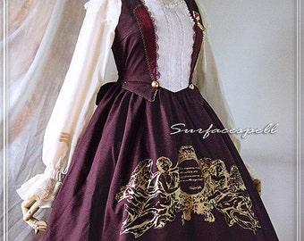 "Surfacespell ""Mais où sont les neiges d'antan"" Layered Look JSK, DARK WINE. Printing Lolita Dress"