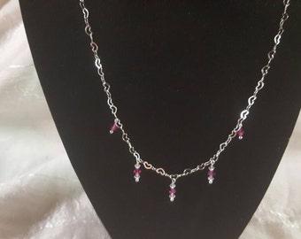 Heart chain necklace, Swarovski Crystal bead necklace, pink necklace,women's necklace, heart necklace, special occasion, wedding, bridesmaid