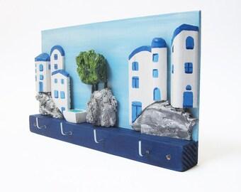 Wall Key Holder, 3D Wood Wall Art, Santorini Art, Santorini Decor, Key Hanger, Reclaimed Wood Art, Jewelry Hanger, Jewelry Display, Key Rack