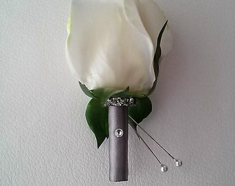 White Rose Boutonniere-Real Touch Boutonniere-Prom Boutonniere-Homecoming Boutonniere