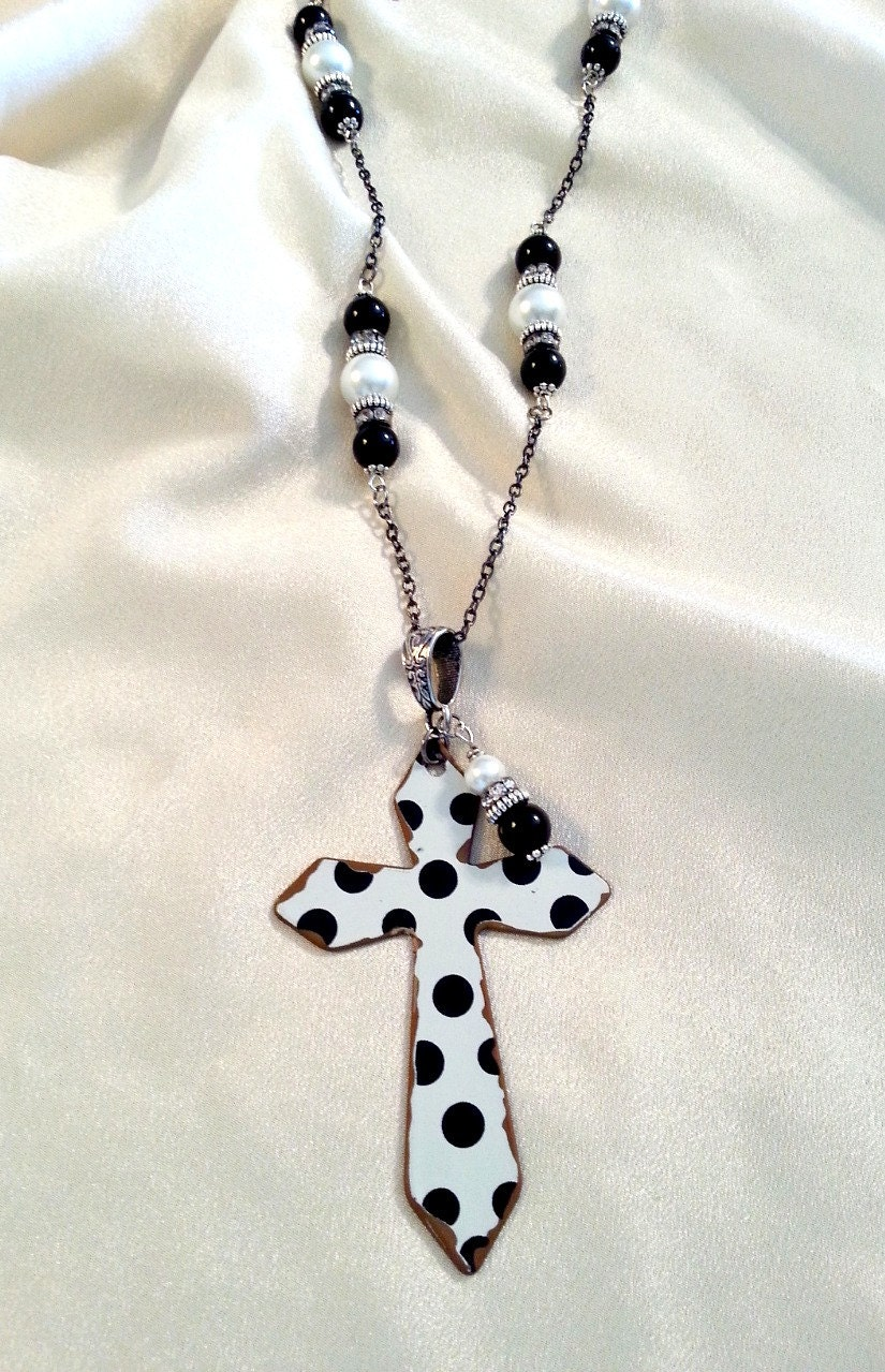 cross necklace beaded cross necklace black by