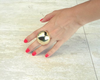 Large chunky statement ring , Big boho ring , Bombastic gold plated jewelry , Unique gift for her.