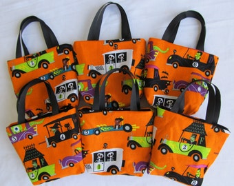 Set of 6 Halloween Fabric Gift Bags/ Party Favor Bags/ Halloween Goody Bags- Monsters in Cars