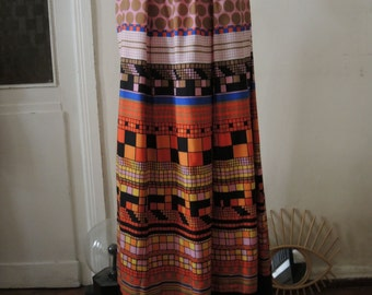 Vintage 70s 80s Lanvin Silk Maxi Skirt with artsy print