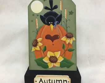 Autumn Pumpkin and Crow Decoration