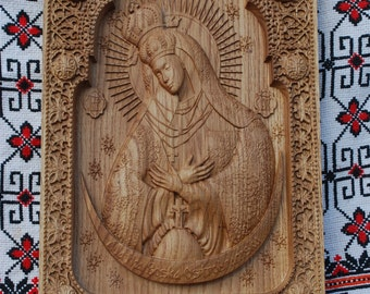 Christian wall decor Our Lady wood carvings Virgin Mary icon   orthodox icon Ostra Brama religious gift