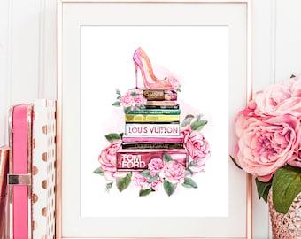 Watercolor Fashion Illustration, Fashion Books Print Pink Shoe High Heels  Watercolor Peonies Floral Fashion Wall