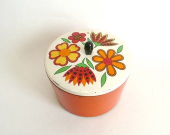 Vintage Set of 3 Nesting Orange Plastic Containers with Flowers