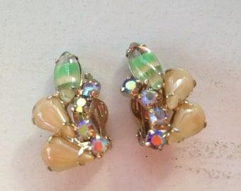 Vintage Green Givre, Beige Moonstone and AB Rhinestone Earrings 0498