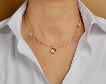 Tiny pendant necklace,  Free shipping, geometric pendant, pearl delicate necklace, tumbaga jewelry, brass dainty jewelry, minimal choker,