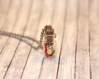 Fruit Salad Mini Bottle Charm Necklace