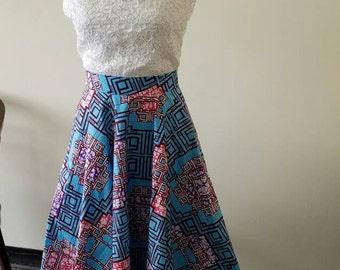 Plus size African print midi skirt
