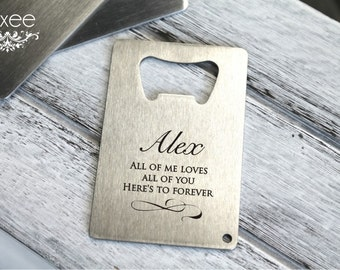 Personalized stainless steel bottle opener, Credit business card beer opener, best man, groomsman, gift for him