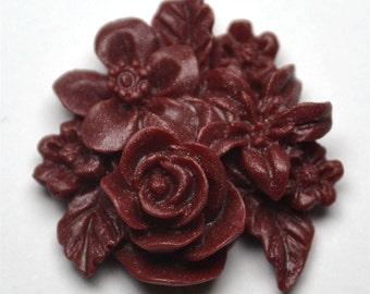 Burgundy Cluster Flower, Pack of 4