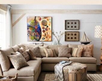 "My Cocoon, original acrylic painting 48"" X 48"" X 1.5"" app"