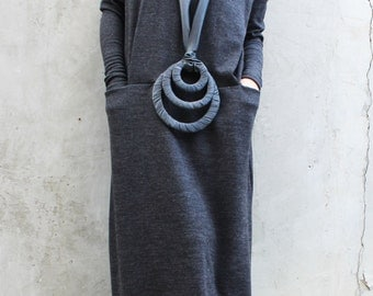 Plus Size Grey Dress / Extravagant Turtleneck Dress/ Maxi Dress/ Asymmetrical Oversize Knitted Dress/ Winter Dress/ D0018