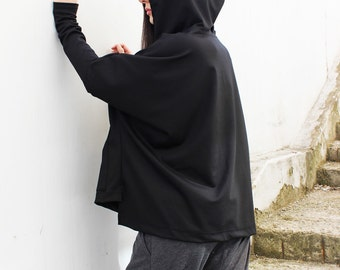 Black Hooded Top/ Loose Hoody/Asymmetrical Top/ Cotton Tunic Top/ Plus Size Top/ Maxi Hoody by FRKT B0009