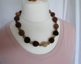 felt bead necklace, textile jewelry, autumn colors, amber multi beads, felt bead jewellery, felt/acrylic beads, OOAK jewelry, felt necklace