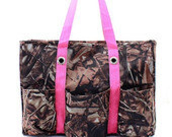 Camo/Camouflage Utility/Tote Bag with Pink Handles - Personalized/Monogrammed