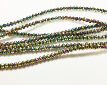 100 2x3mm Mardi Gras Beads, iridescent faceted glass beads, Suncatcher Beads, Spacer Bead, rondelle beads, R29