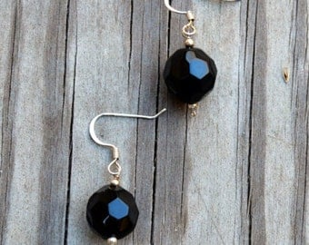 Black Crystal Earrings, Crystal Earrings, Black Earrings